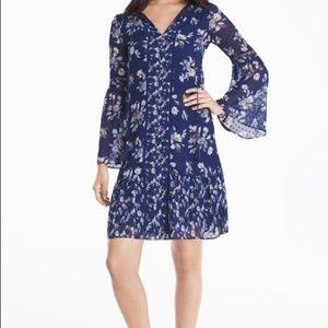 WHBM Blue Floral Boho Bell Sleeve Dress